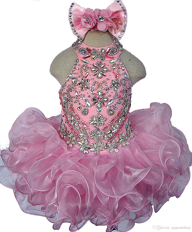 Belas meninas pageant vestidos de cristal jóia halter vestidos de baile mini vestido de menina curto da flor para o casamento