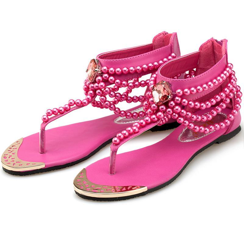 Beads Toe Clamping Sandals Summer Bohemia Women Flat Shoes Leisure Beach Flattie Pink Beige Non Slip Heel Zipper 41wm C1