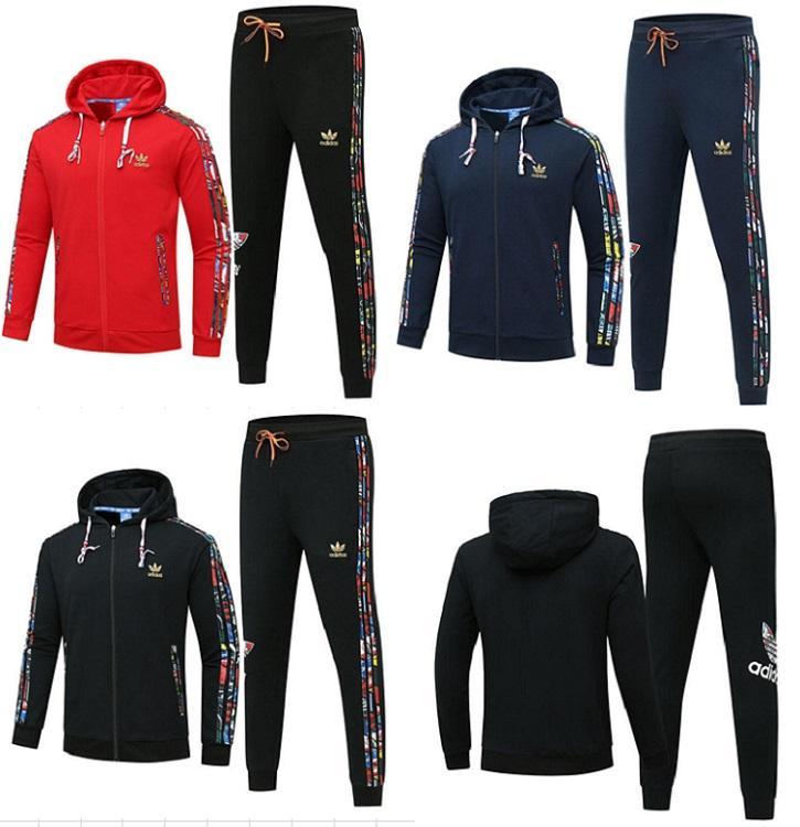homens roupas cardigan Hoodie pant 2 piece set moda zipper casaco outerwear carta esportes impressão adequar camisa de manga longa terninho klw2009