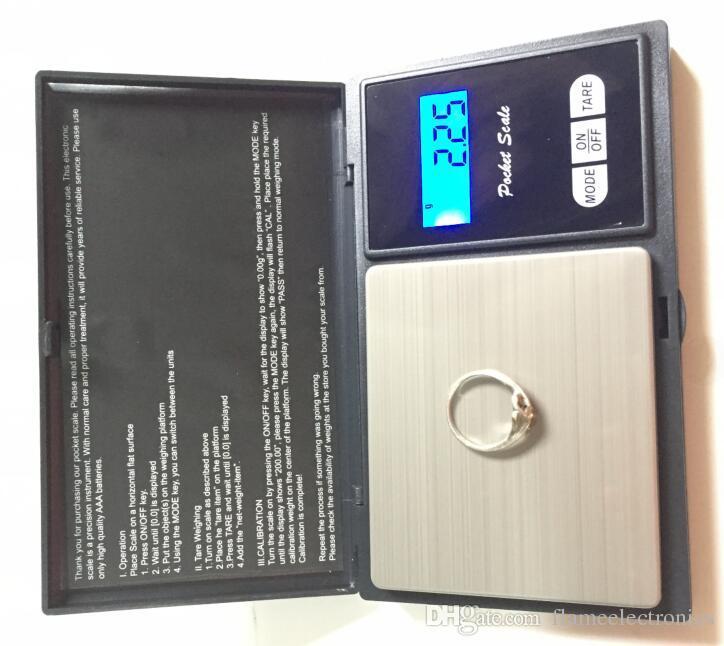 أسود وزن الجيب الرقمية الالكترونية مقياس 100 جرام 200 جرام 0.01 جرام 500 جرام 0.1 جرام مجوهرات مقياس الماس الرصيد الموازين شاشة lcd مع حزمة البيع بالتجزئة