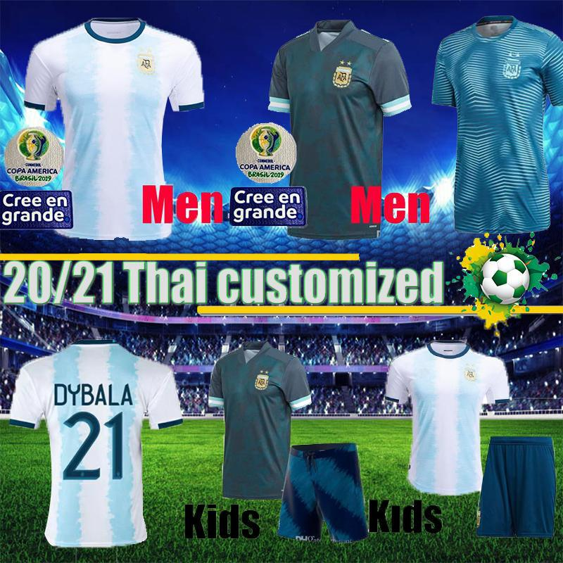 19 20 Копа Америка 2020 Аргентина футбол кофта комплект голубой Дыбала Месси Кун Агуэро Игуаин 20 21 футбол рубашки дети рубашки Camisetas дома