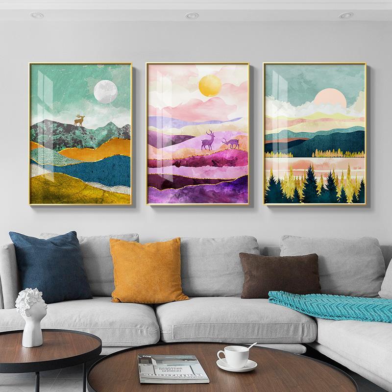 nordic paisagem Sunrise Sunset tela de pintura cartazes e da parede Impressão artística fotos para estar quarto quarto corredor decoração única