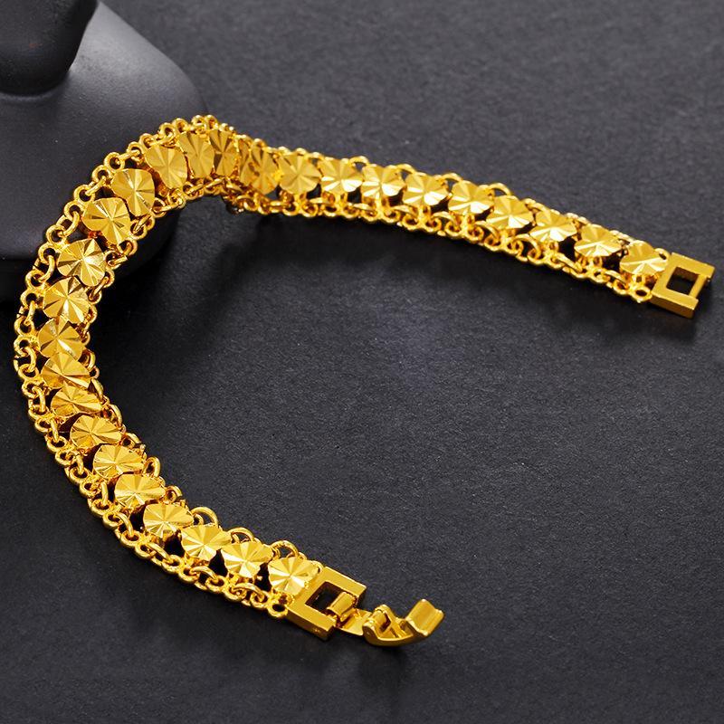 Браслет Прекрасный Позолоченный браслет Вьетнам Россыпь золота Полный персик сердца женщин в Имитация золота Heart-Shaped