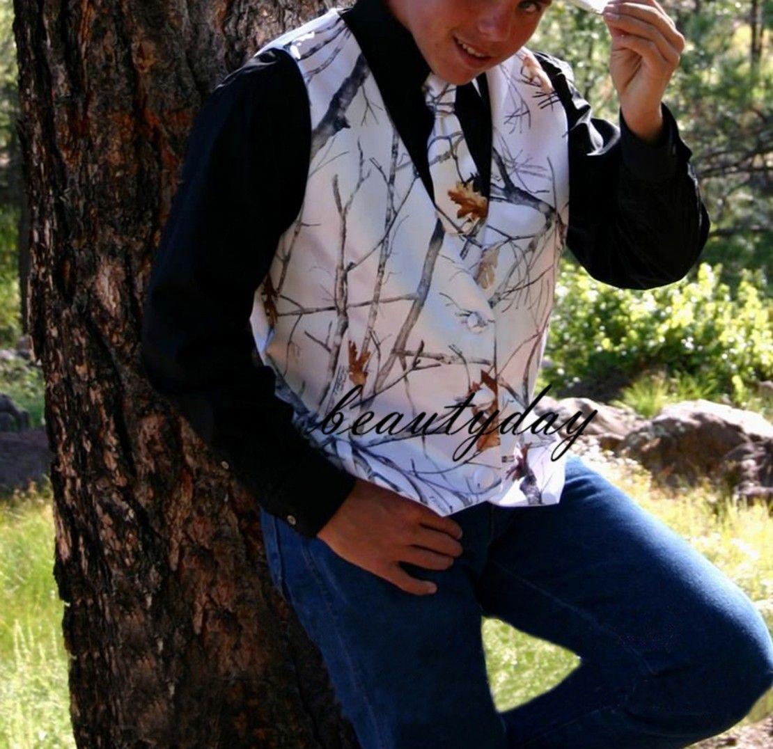 2020 Casual Yeni Kamuflaj Damat Yelek İçin Ülke Düğün Hunter Bestmen Kamuflaj Slim Fit Mens Kıyafet 2 parçalı set (Vest + Tie) Custom Made