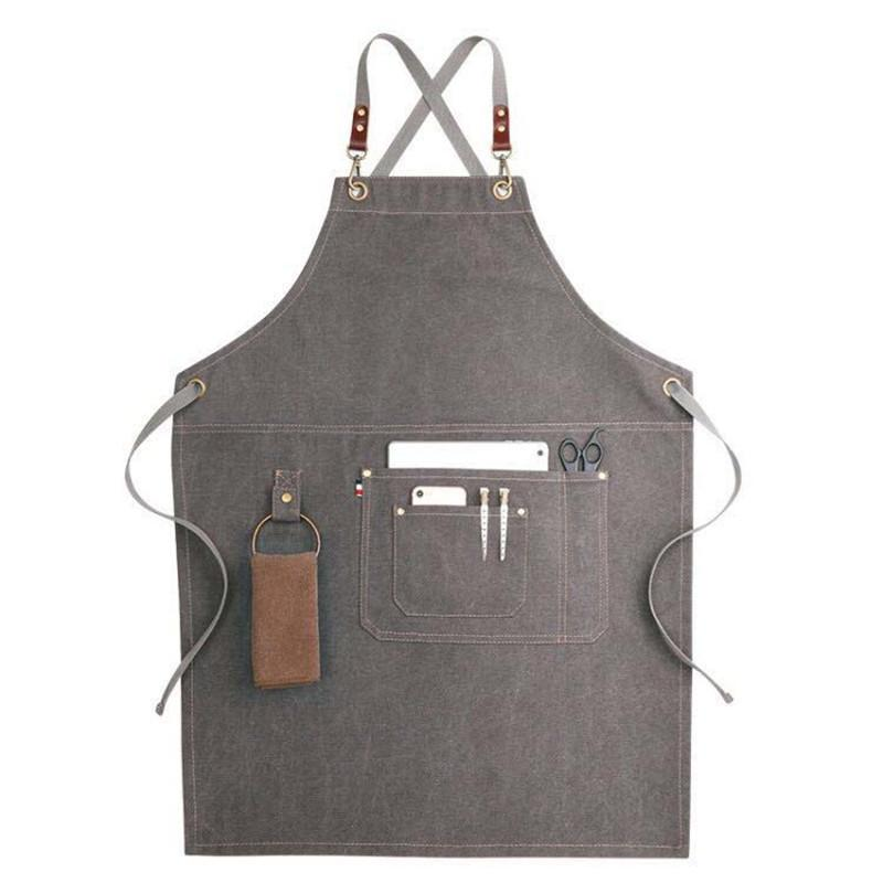 Unisex Work Aprons For Men Women Kitchen Painting BBQ Chef Adult Apron Bib Leather Straps Christmas Gift delantal avental