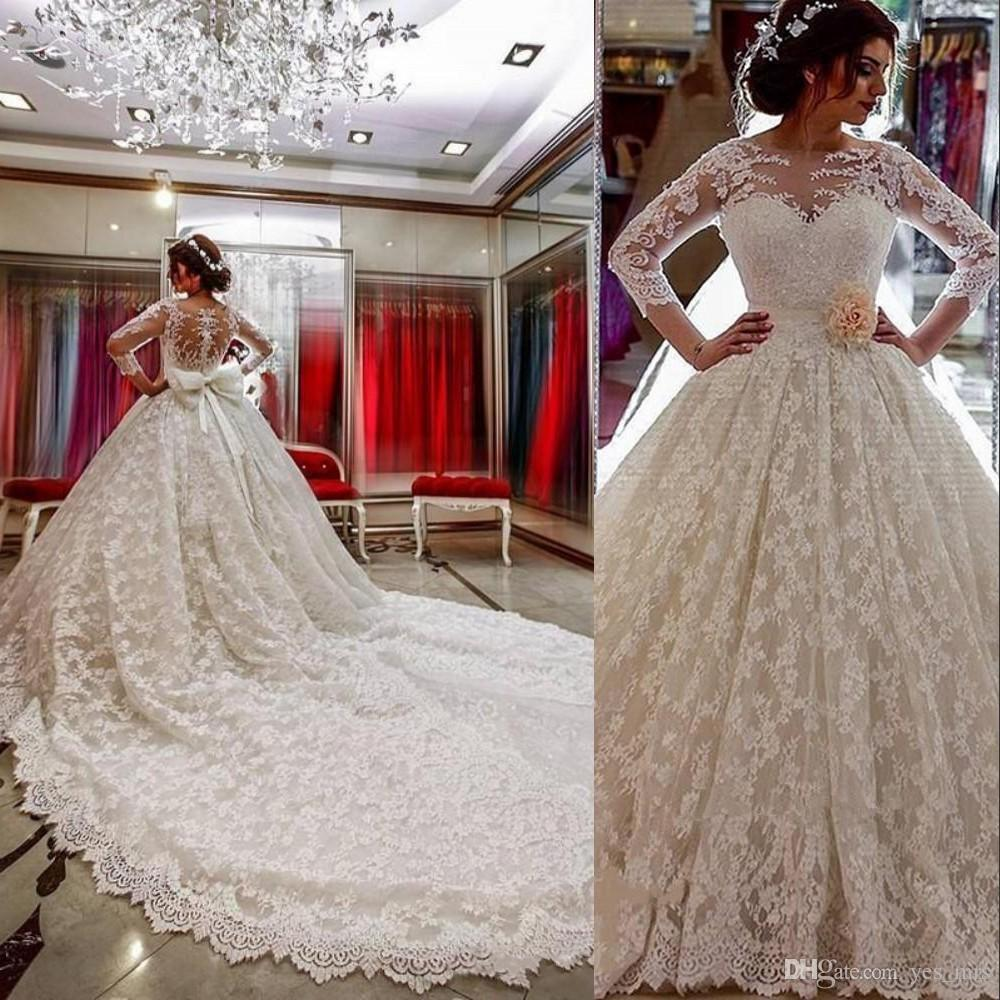 Ball Gown Wedding Dresses Sheer Jewel Neck Full Lace Beads 3/4 Long Sleeves Sashes Long Chapel Train Plus Size Formal Bridal Gown