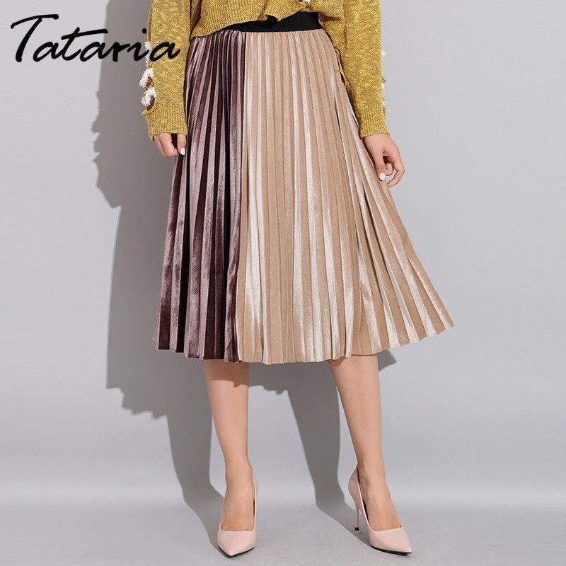de Tataria Mujer Falda plisada de ter Otoño 2020 de cintura alta remiendo faldas para las mujeres de terciopelo plisado una línea falda de Midi