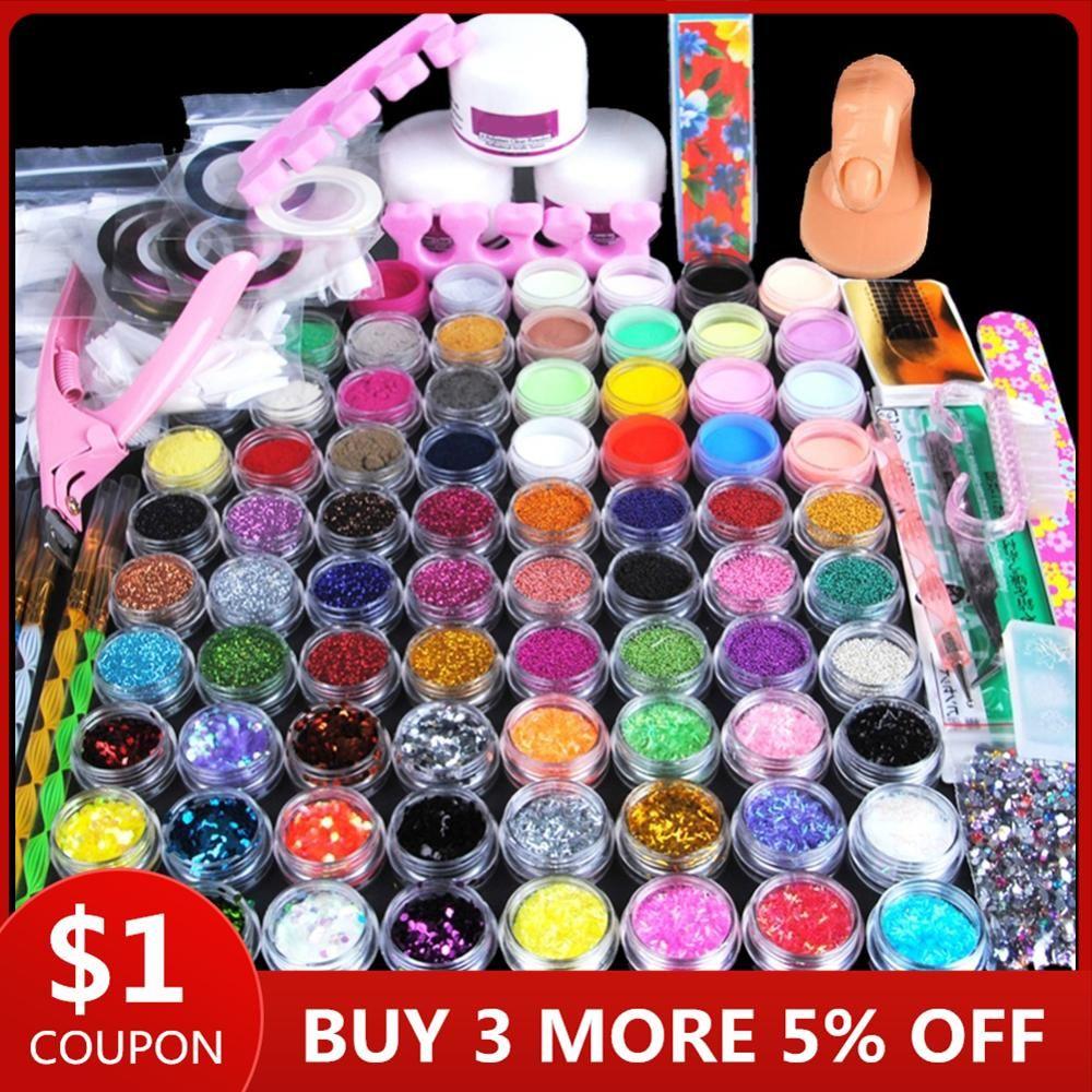 78pcs Nail Acrylpulver Glitter Maniküre-Set für Nail Art Kit Edelstein-Dekoration Kristall Strass Pinsel Tools Kit für Maniküre