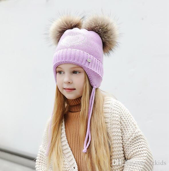 더블 머리 공 귀여운 아기 모자, 겨울 아기 따뜻한 겨울 니트 양모 귀고리 모자 2-6T에 대 한 유지