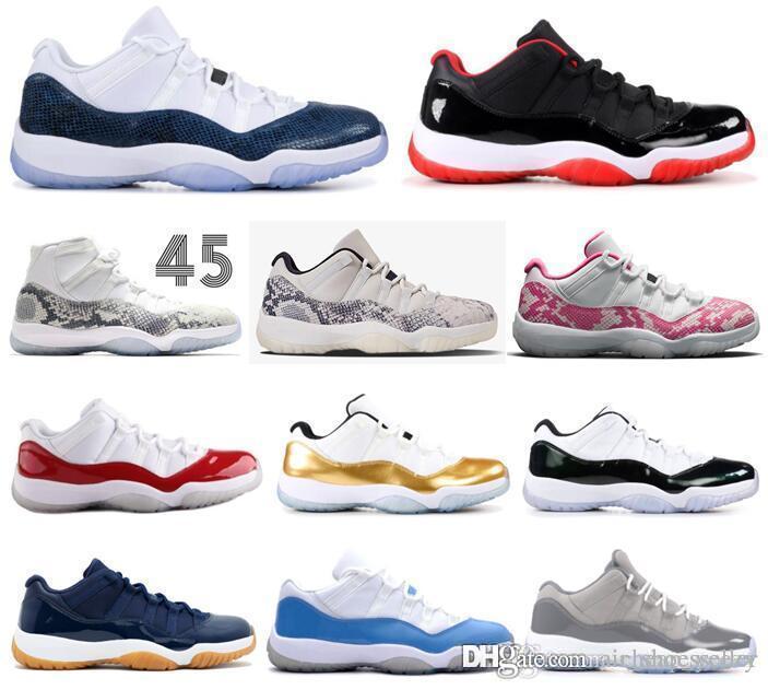 Alta calidad 11 Ceremonia de clausura criada en piel de serpiente azul baja Zapatos de baloncesto de goma azul marino Hombres 11s UNC Cherry Varsity Red Emerald Sneakersr