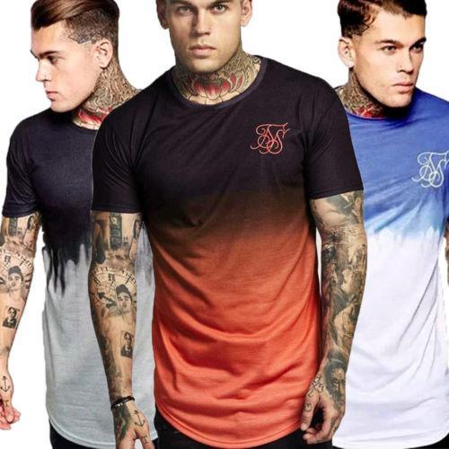 2020 Summer Nouveau T-shirt Haut de culturisme Muscle Hommes Fitness Sport Singlets Fun T-shirt Coton gradient Jogger course