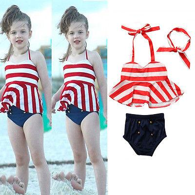 Toddler Kids Baby Girls Tankini Bikini Set Swimwear Swimsuit Bathing Suit Stripe