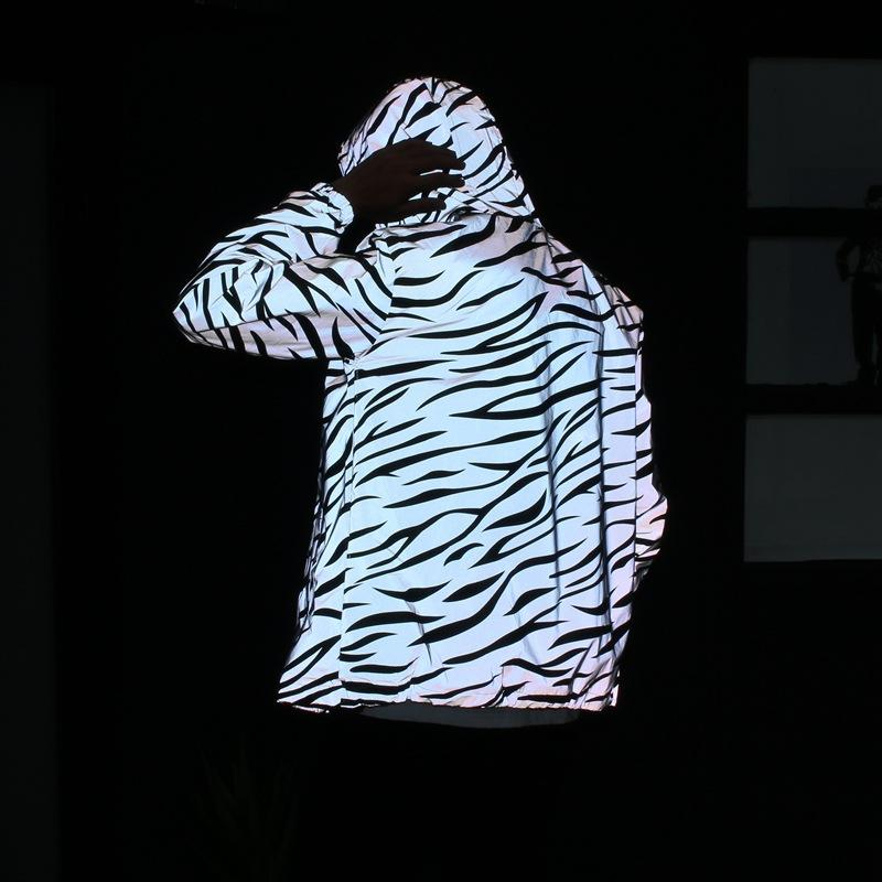 Hot Sale Fashion Couple Hoodies Reflective Zebra Striped Tide Men Women Windbreaker Casual Double Trench Coat Couple Coat S-2XL Size