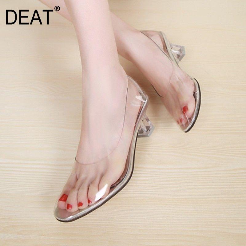 [DEAT] 2020 новый весна лето круглый носок мелкий ПВХ прозрачный западный стиль простые высокие каблуки сандалии женская мода 10A386