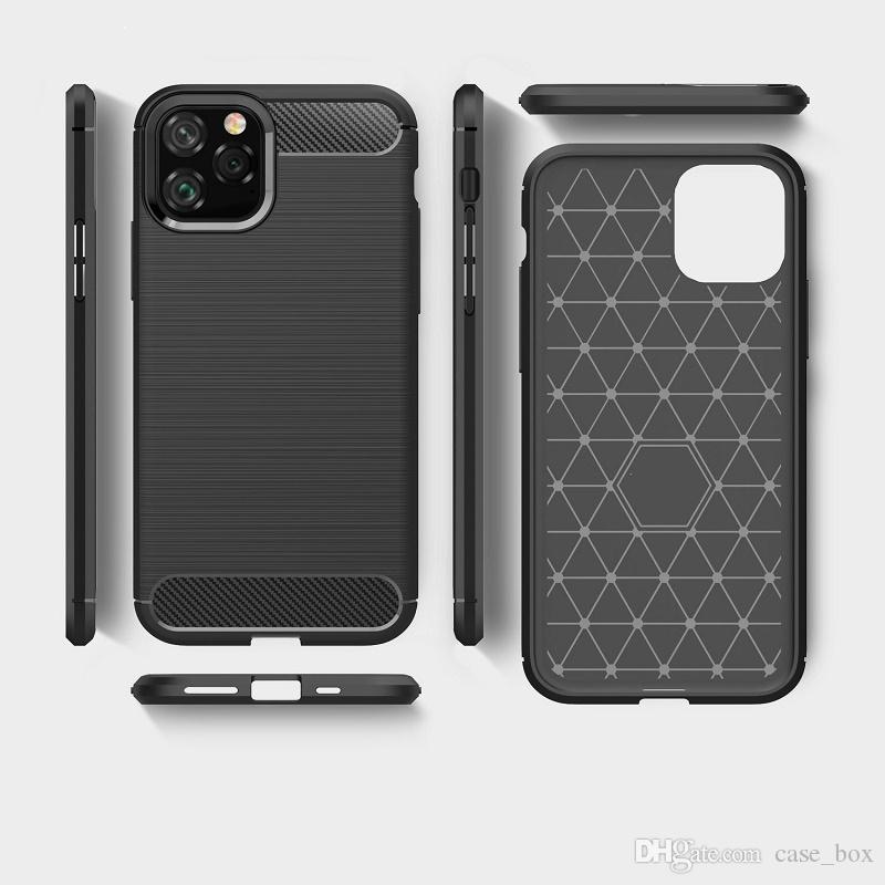 Funda de fibra de carbono TPU suave para iphone 11 pro max 5.8 6.1 6.5 Cubierta a prueba de golpes