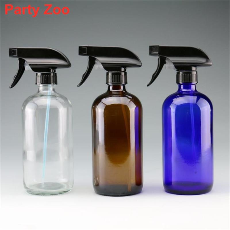60 X 8 Unzen / 16 Unzen leeren Bernstein / Blue Glass Sprühflasche mit Trigger-Sprayer Ätherisches Öl Aromatherapie Flaschen Gebrauch: Reinigung Garten