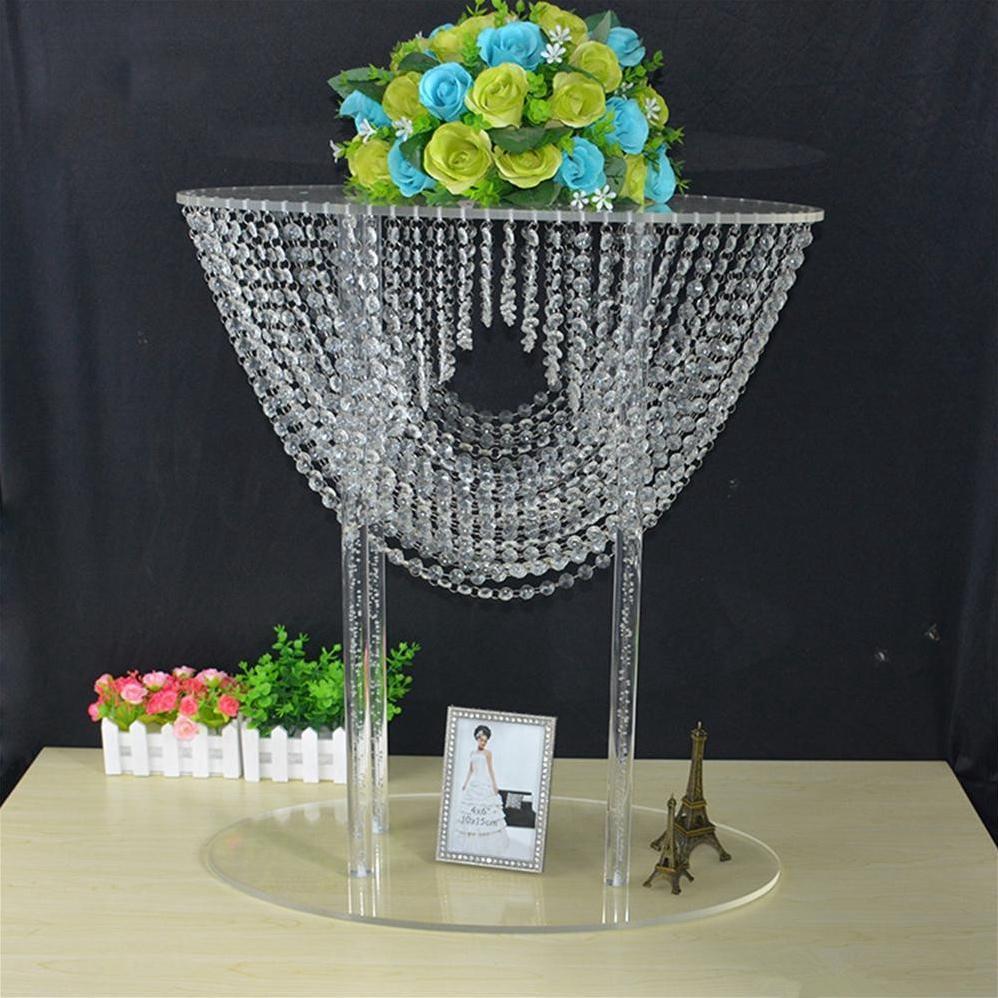 Flowers Stents 68 CM Tall Acrylic Flower Rack Crystal Wedding Table Road Leaf Wedding Centerpiece Event Party Decoration EEA1655