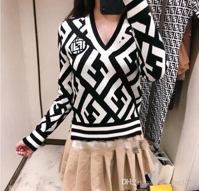 1244 Women's Knits & Tees 2019 Summer New Colour-Coloured Piercing Double F Letter Jacquard Knitted Shirt Left Shoulder Band Knitting-S8059