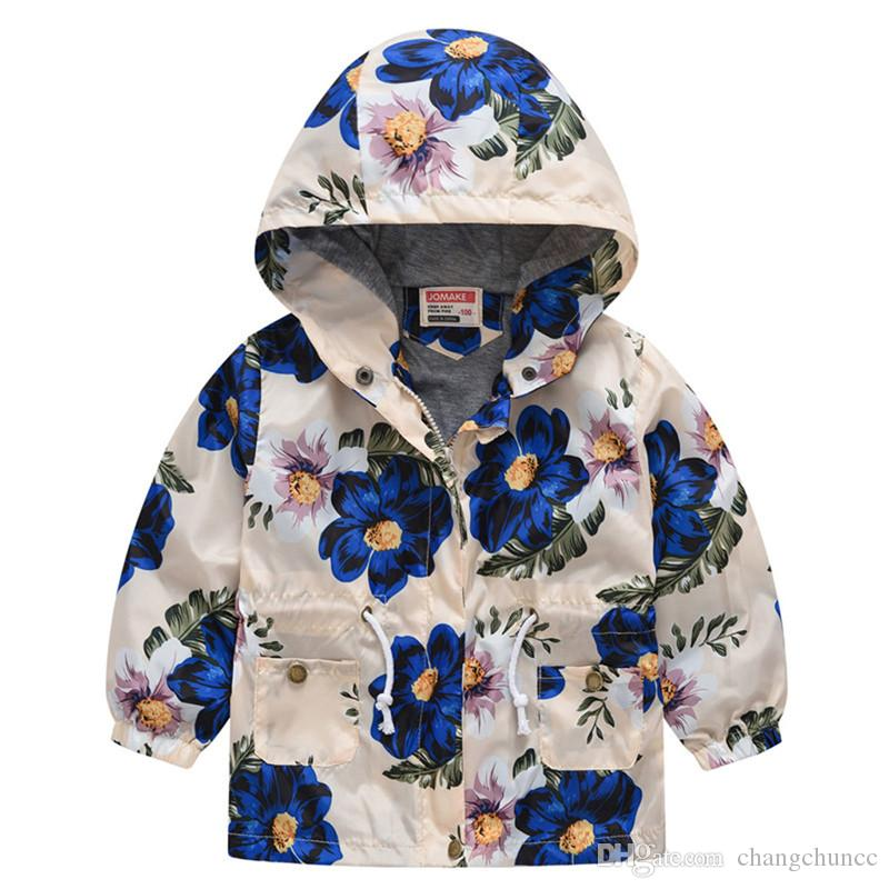 Veste coupe-vent pour les filles enfants Bébés filles garçons à capuchon floral Sweat-shirt Manteau Wind Tenues Outwear Veste pour enfants