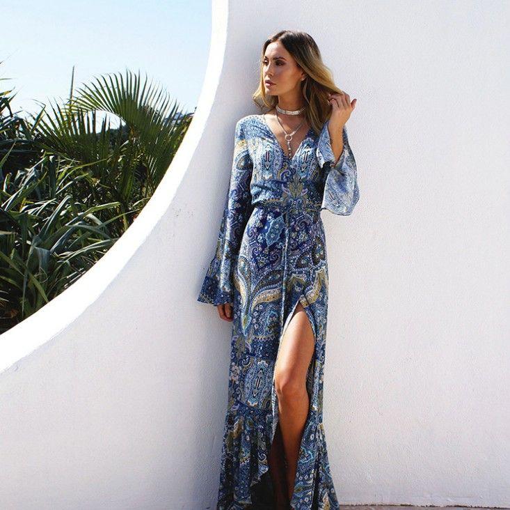 Vestido largo dividido con estampado floral de Boho Vestido de playa para mujer Vestidos largos de Bohemia Mujer Vestido de guillotina de verano Vestidos largos