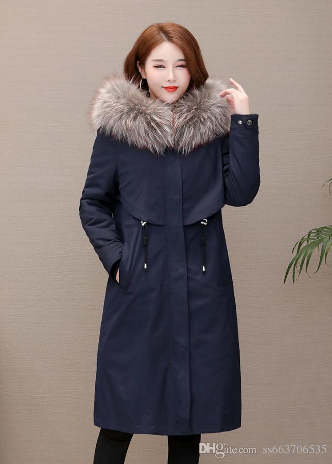 아래 내부 따뜻한 코트 팜므 모든 태그 인기있는 스타일 오리 여성 겨울 자켓 숙녀 진짜 너구리 모피 칼라