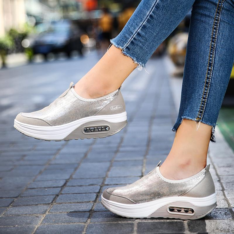 Big Size 35-41 Women Wedge Sneakers Slip On Fitness Shoes Women Soft Outdoor Non-slip Shock Absorber Rocking Shoes