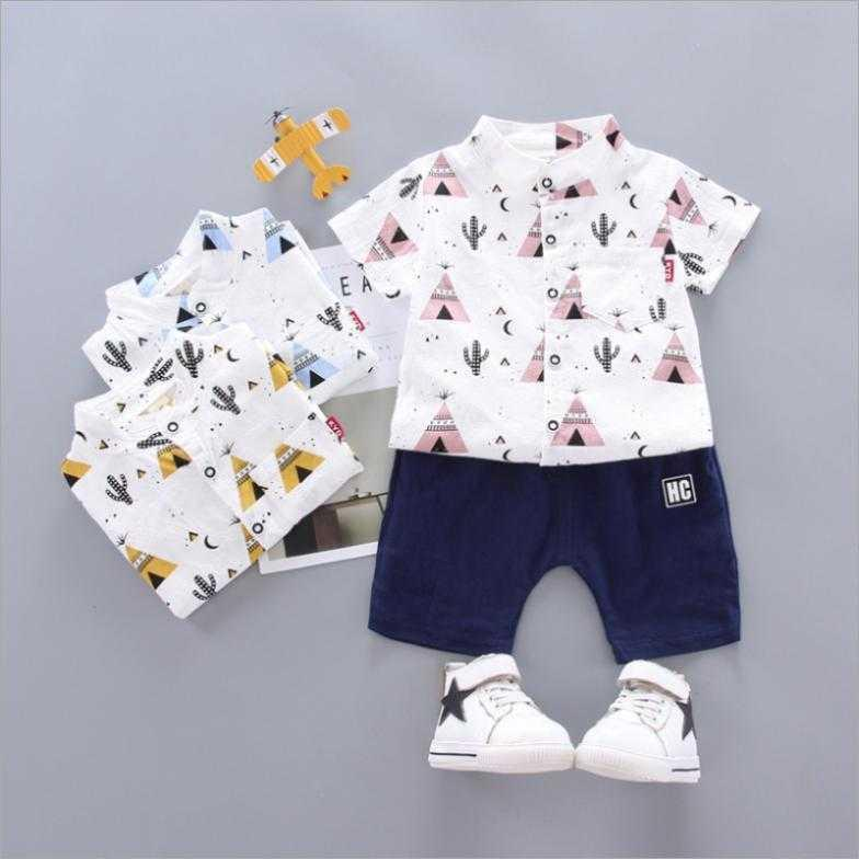 2020 çocuk giyim çocuk Kore yaz bebek 2 yaşında erkek bebek kısa kollu kaktüs gömlek seti