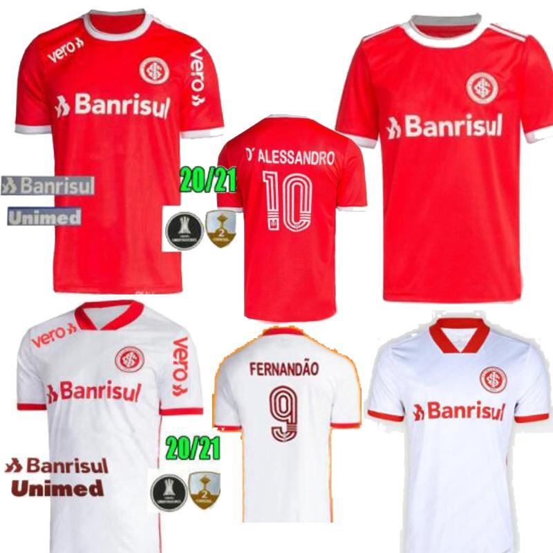 사이즈 S-2XL 2020 년 브라질 클럽 SC 인터내셔널 홈 멀리 흰색 게레로 남성의 축구 유니폼 N. 로페즈 camisa 드 Futebol의 축구 셔츠 20 21 빨간색