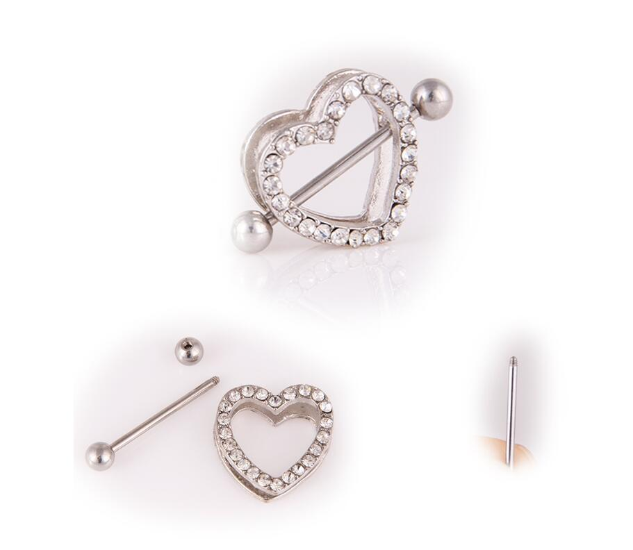 Wholesale Best selling 3 color double peach heart breast ring love diamond body nail piercing jewelry Free shipping