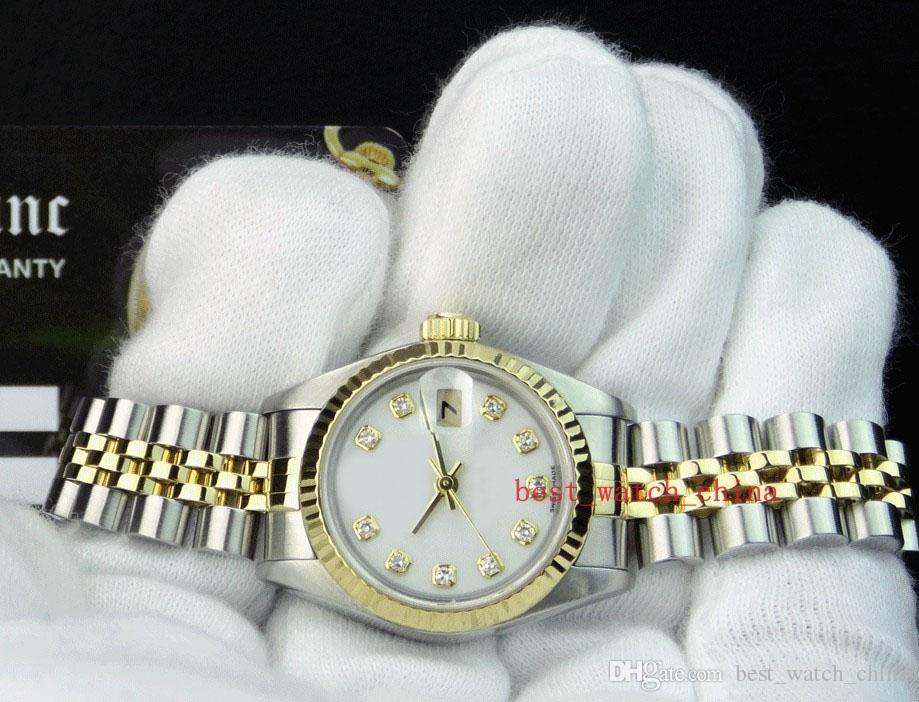 Sıcak satış Safir Lüks YENİ 18kt Altın 26 31 36 41 mm Erkek Gün Tarih Beyaz Elmas 79173 Otomatik Bayanlar Kadınlar Çift Saatler