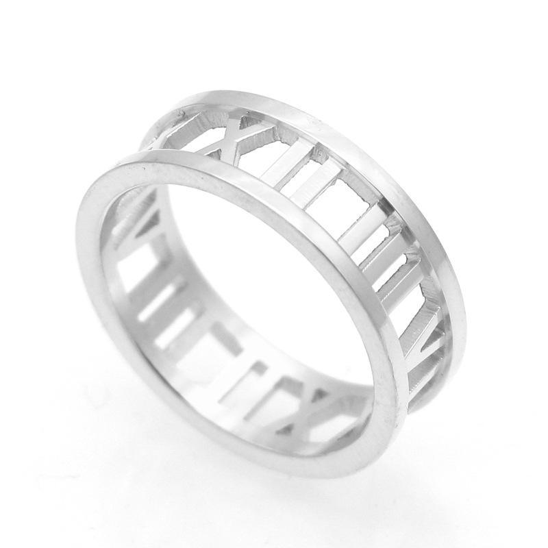 Titanium aço new roman love marca anéis de jóias por atacado coração amor anéis para mulher anel de casamento jóias 18 k ouro / prata / rosa cor