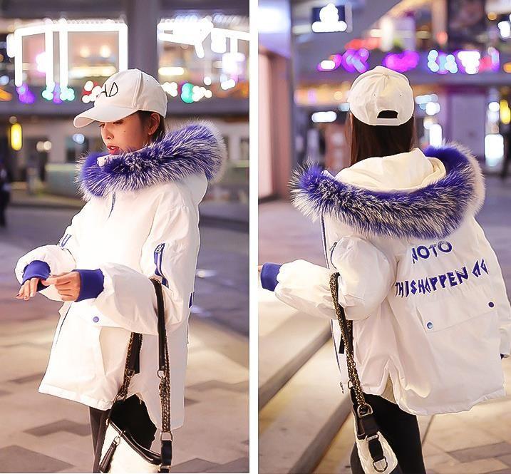 2019 Kış Yeni Kore Baskı Büyük Saç Yaka Kısa Aşağı Pamuklu Giysiler Gevşek kadın Breadwear Öğrenciler