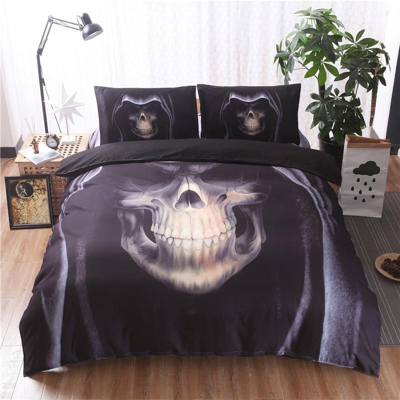 3D Black Skull Print Duvet Cover Set 3pcs Double Queen King Bedclothes Bed Linen Bedding Sets(No Sheet No Filling)