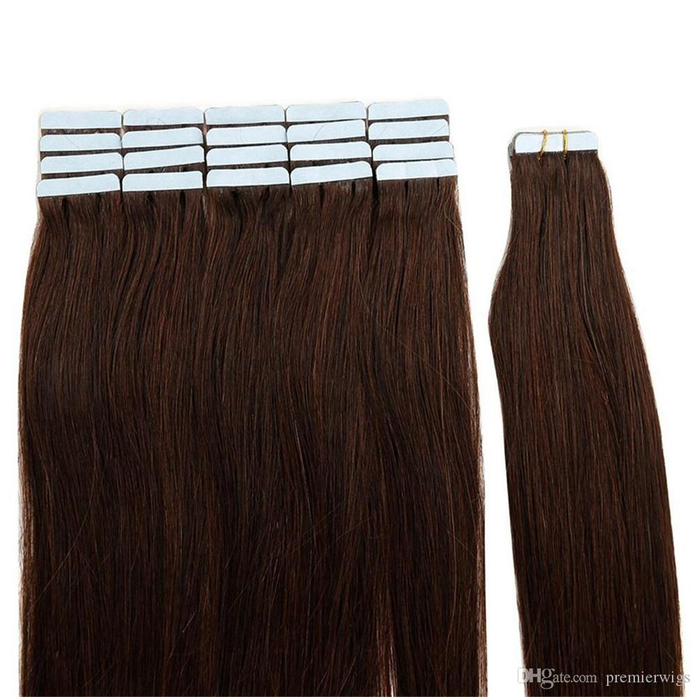 Dark Brown #2 Tape In Human Hair Extensions Double Drawn Skin Weft Brazilian Straight Hair 40 pcs/set 100% Human Hair