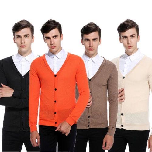 Colore scollo a V Slim maglione cappotto casuale pullover a maglia caldo dei nuovi uomini di 2019