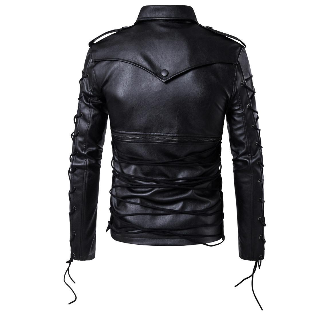 Ouma 2018 New Style Mode Hommes Locomotive Manteau en cuir Manteau Décadent Veste en cuir grande taille manteau de cuir M-5XL B002