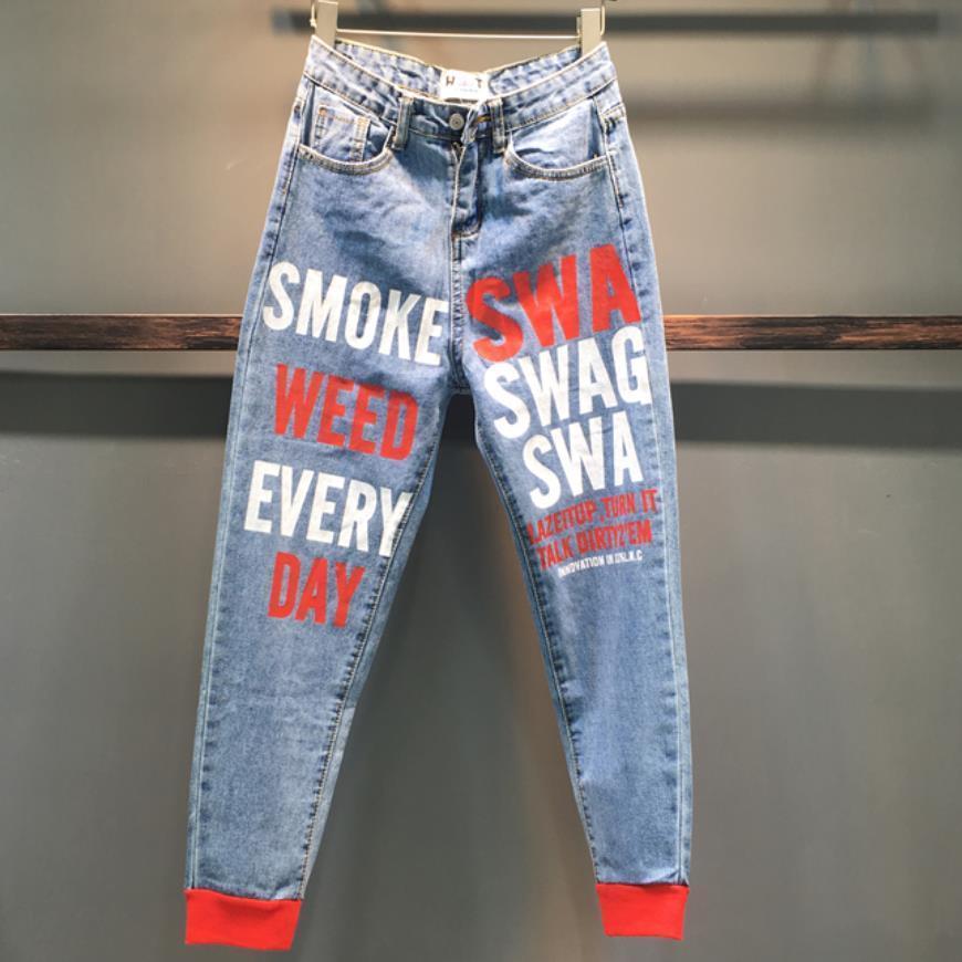 2020 Frühling-neue Art und Weise Sprühfarbe Buchstabedrucken hohe Taille lose Füße Harem Jeans Frauen Y200417