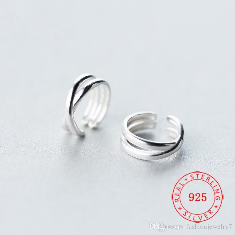 الأزياء والمجوهرات المصنوعة في الصين الجملة الصلبة 925 الهدايا الأقراط الفضة الكفة الأذن سيدة ميلاده المجوهرات العصرية