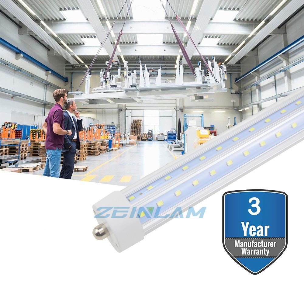 الصمام الخفيفة الأنبوبة 8FT، 96In LED أنابيب، 72W واحد دبوس FA8 قاعدة 270 درجة V على شكل LED رقاقة لمبات، ثنائي نهاية بالطاقة، استبدال الفلورسنت