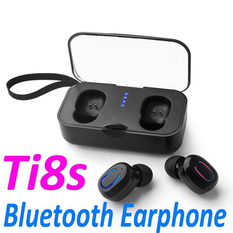 Ti8s Bluetooth 5.0 Auriculares TWS Auriculares inalámbricos In-Ear Manos libres Auriculares deportivos con caja de carga de micrófono