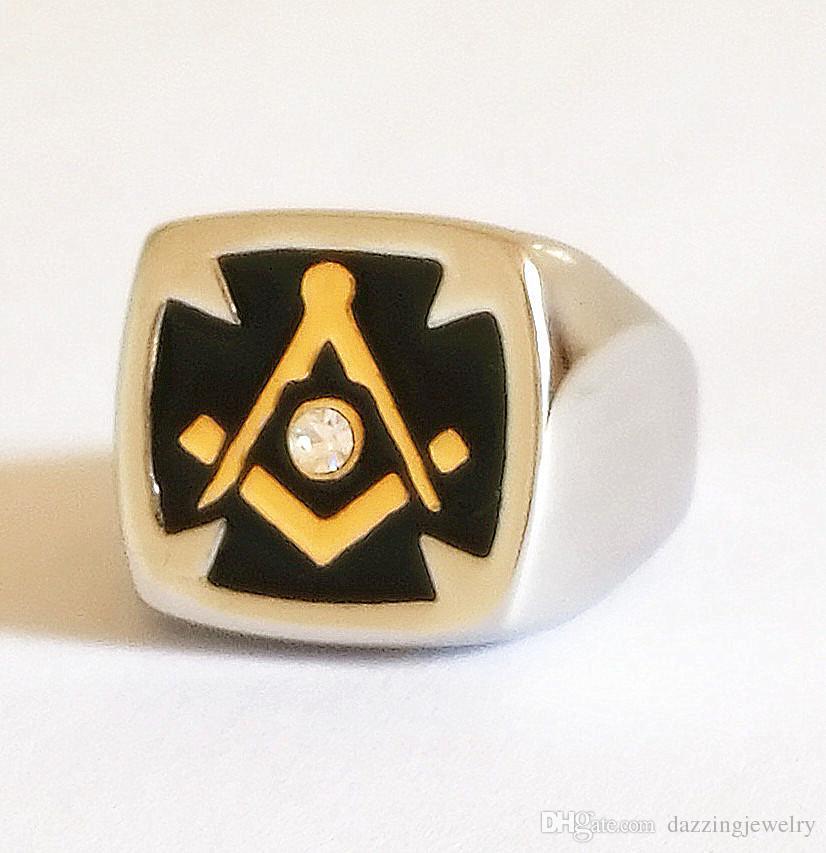 Stainless steel men's 18k Gold Silver Unique Knights templar Masonic Cross ring Freemasonry ring jewelry with crystal cz stone black enamel