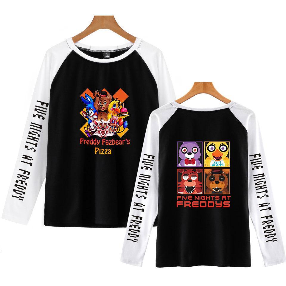 FNAF cinco noites no Freddys Raglan casual homens camisetas manga longa cobre T Shirt Mens Clothing 4XL Oversized
