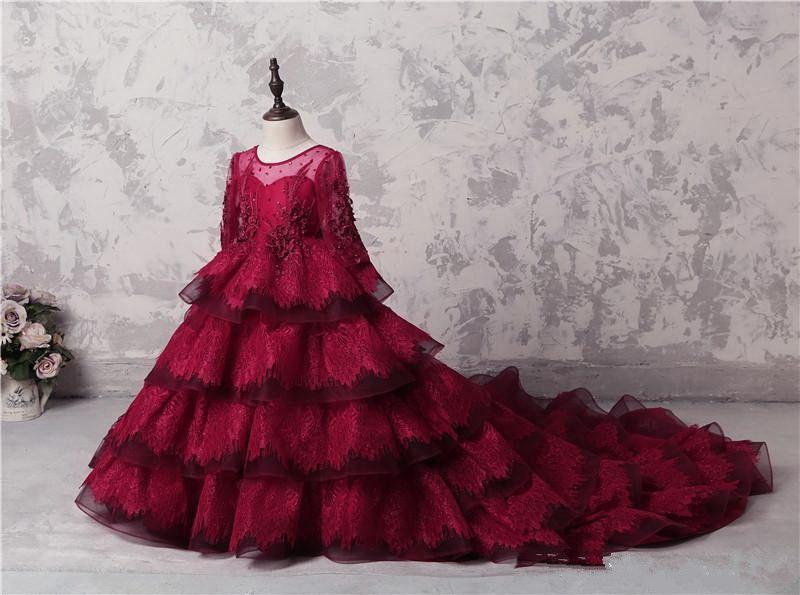 Incrível Multi-Layer Meninas Pageant Vestidos vermelho escuro Lace mangas compridas apliques Beads Vestidos menina Para Dres Wedding Party Train Longo