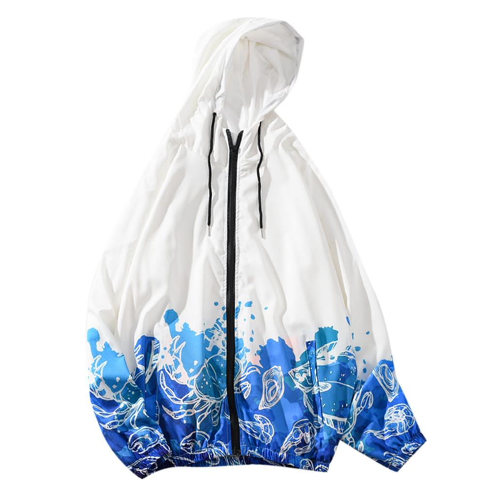 Fashion-Men's Fashion Printed Long-sleeved Hooded Sweater Coat Sports Coat Top Blouse Large Size Jacket zipper Hooded Outwear 7.19