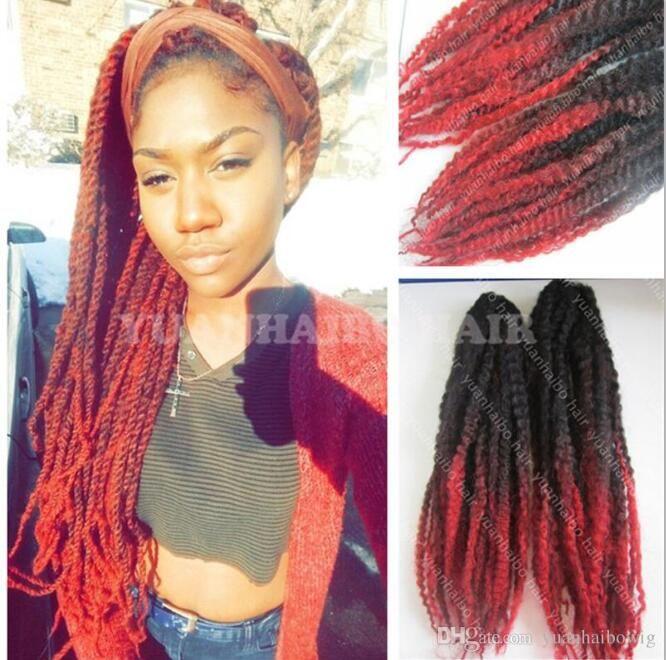 12 Packs Voller Kopf Two Tone Marley Braid Haar Schwarz Rot Ombre synthetische Haar-Extensions Versaute Twist flechten Schnelle Express-Versand