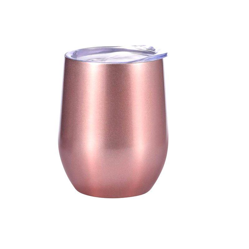 12 oz vaso de vino de pared doble con aislamiento al vacío Vasos de acero inoxidable vidrios de cerveza sin pie taza de café con tapa