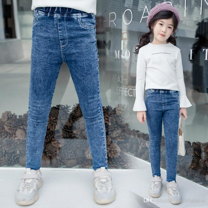 Kids Girls Winter Warm Lined Slim Fit Stretch jeans Casual Denim Pants Trousers