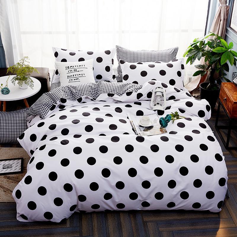 Moda 100% algodón raya Sistemas del lecho gemelo / Full / Queen / King / Super King cubierta del edredón hoja de cama de la funda de almohada del lecho 4pcs Set