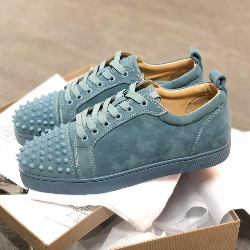 Meilleur bas Rouge Chaussures de sport junior Spikes Squale Chaussures Velours Veau New Bleus formateurs 100% chaussures de soirée en cuir véritable mariage shoes2019