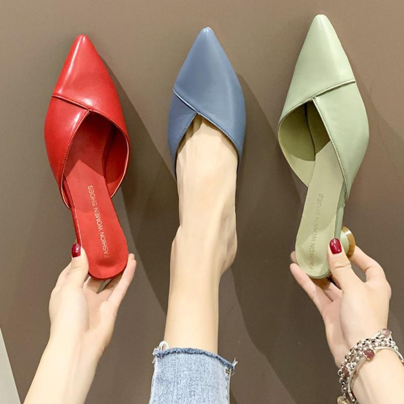 Summer Sandals Women Low Heels Sandals lady Pumps classics slip on Shoes sexy Women party shoes Red Wedding Slingbacks